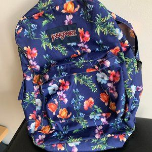 Jansport Superbreak Student Floral Blue Backpack
